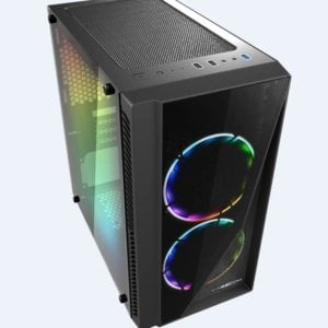 Casecom Gamming XM-91 Front  Side Transparent Temper glass Micro ATX with no PSU-has 2x 12CM 6 colours Single ring  LED fans