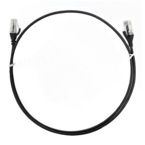 8ware CAT6 Ultra Thin Slim Cable 0.25m / 25cm - Black Color Premium RJ45 Ethernet Network LAN UTP Patch Cord 26AWG for Data Only