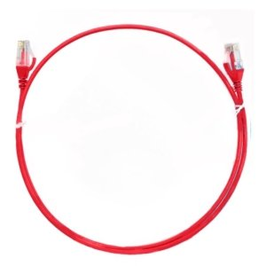 8ware CAT6 Ultra Thin Slim Cable 0.25m / 25cm - Red Color Premium RJ45 Ethernet Network LAN UTP Patch Cord 26AWG for Data Only