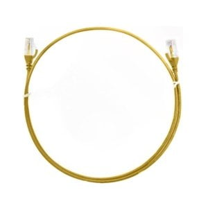 8ware CAT6 Ultra Thin Slim Cable 0.25m / 25cm - Yellow Color Premium RJ45 Ethernet Network LAN UTP Patch Cord 26AWG for Data Only