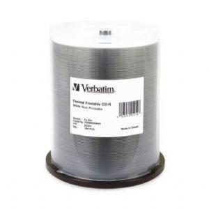 Verbatim CD-R 700MB 100Pk White Wide Thermal 52x - 95254