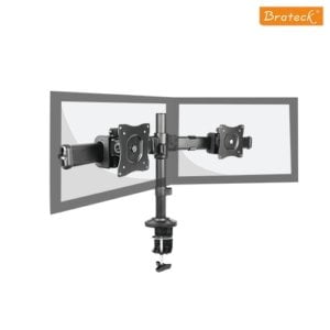 """Brateck Dual Monitor Arm with Desk Clamp VESA 75/100mm Fit Most 13""""-27"""" Monitors Up to 8kg per screen"""