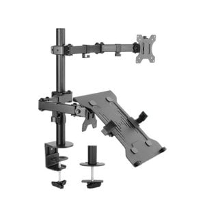 """Brateck Economical Double Joint Articulating Steel Monitor Arm with Laptop Holder Fit Most 13""""-32"""" Monitors"""