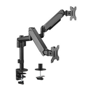 """Brateck Dual Monitors Pole-Mounted Gas Spring Monitor Arm Fit Most 17""""-32"""" Monitors Up to 9kg per screen VESA 75x75/100x100"""