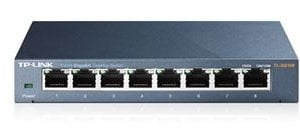 TP-Link TL-SG108 8-Port Gigabit Desktop Switch Steel Case Fanless 11.9Mpps Support 802.1p/DSCP QoS1 and IGMP Snooping Plug  Play