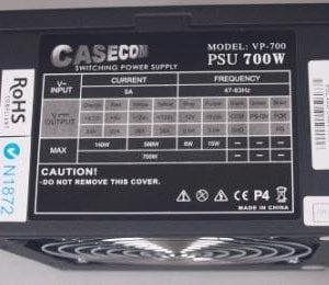 Casecom 700W ATX PSU 120mm Fan  PCIE 6+2 pins