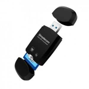 Simplecom CR303 2 Slot SuperSpeed USB 3.0 Card Reader with Dual Caps -Black